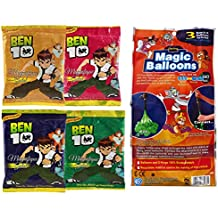 Tom And Jerry Holi Magic Balloon Bunch 111 Pc Auto Fill (3 Sets Of 37 Balloons) With 4 Ben 10 Gulal