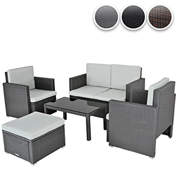 Miadomodo Arredo giardino divano con tavolino set da 5 pezzi polyrattan colore grigio