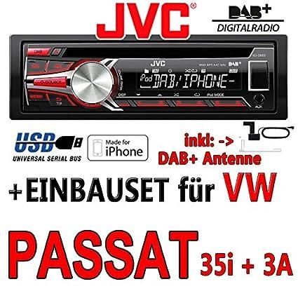 Volkswagen passat 35i/3A jVC-kD-dB65 dAB autoradio cD/mP3/uSB avec dAB et antenne