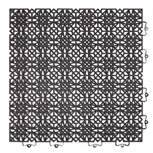 202404 Kunststofffliese / Bodenfliese 38 x 38 cm, Set: Bestehend aus 7 Fliesen 1 m², schwarz