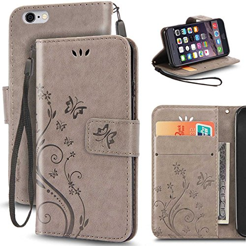iPhone 6 Case, Korecase Premiun Wallet Leather Credit Card Holder Butterfly Flower Pattern Flip Folio Stand Case for Apple iPhone 6 6S With a Wrist Strap (Gray)