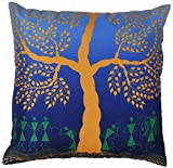 Warli Tribal Art - Throw Pillow Covers 18x18 Inch Cushion Cover with Zipper - Decorative Blue Yellow Green Throw Pillows Case for Couch Sofa Ottoman Bed Living Room Rocking Chair - Home Decor