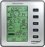 Powery TFW110 Funk-Wetterstation mit Innen- und Außentemperatur, Windmesser, Niederschlagsmesser