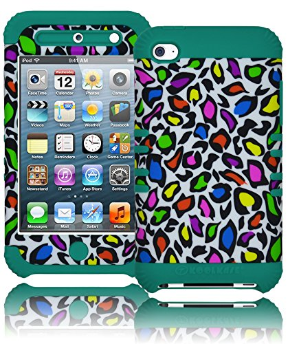 Bastex Heavy Duty Hybrid Case For Apple Ipod Touch 4, 4Th Generation Ipod Touch - Mint Teal Silicone / Colorful Leopard Animal Print Hard Shell front-366042