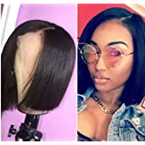 LUFFYWIG Human Hair Lace Front Wigs Straight Human Hair Lace Front Bob Wig Free Parting Lace Frontal Wig With Baby Hair 8
