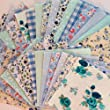 x 50 Shabby Chic Green and Blue Patchwork Squares 10 x 10cm from Hot Pink Haberdashery