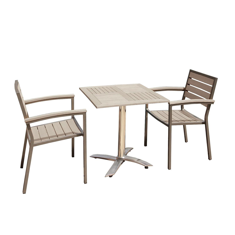 SYN SYN CB040SET, Teak, 2-DW Gartenmöbel Essgruppe Garten Bistro Set, 2 STÜHLE + Tisch