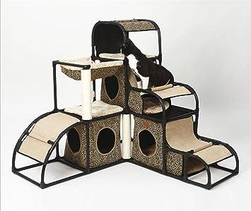 Gatto Albero Grazing Post Cornice combinata di lusso multifunzione Staccabile Stoffa Oxford Pet nido di gattino torre Giocattolo di attività Letto Arrampicata 110 centimetri * 120cm * 120cm , 3