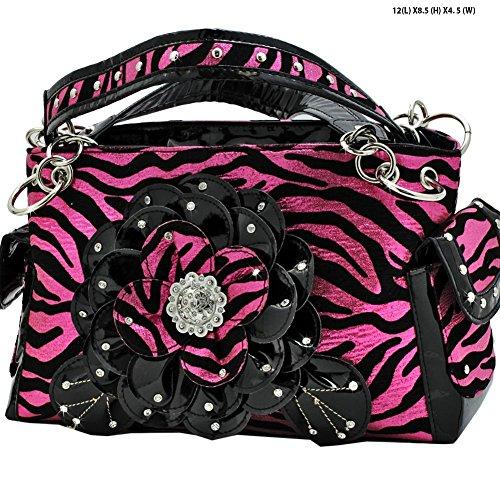 Western Hot Pink Metallic Concealed Carry Gun Zebra Flower Rhinestone Concho Handbag Purse