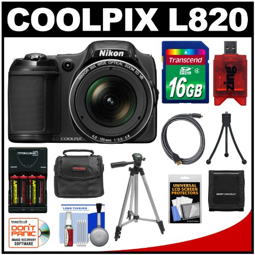Nikon Coolpix L820 Digital Camera (Black) with 16GB Card + Batteries & Charger + Case + Tripods + HDMI Cable + Kit