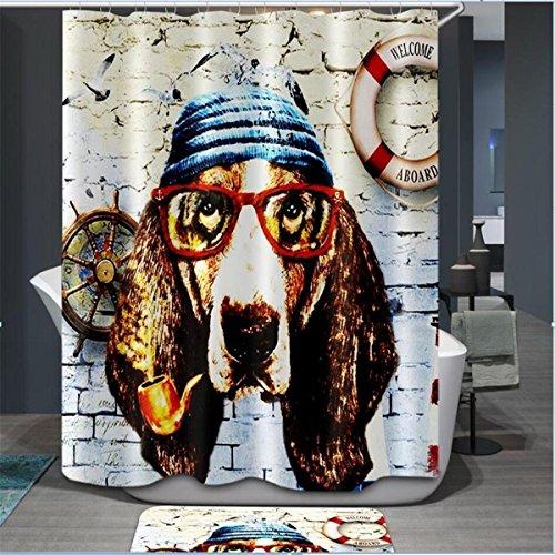 IMIEE Fashion Eye Glass Dog Digital Printing Shower Curtain Anti Bacterial Waterproof Polyester,72 X 72 Inch