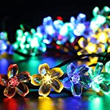 Solar Outdoor String Lights,Gdealer 22ft 50 LED Waterproof Solar Powered String Flower Fairy Lights Christmas Lights for Home, Gardens, Lawn, Patio, Halloween, Christmas Trees, Weddings, Parties