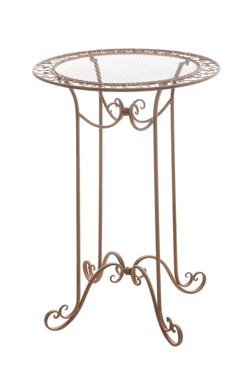 CLP Eisen-Stehtisch THALIA, rund Durchmesser Ø 70 cm, Höhe 100 cm, bis zu 6 Farben wählbar, nostalgisches Design, handgefertigt antik-braun