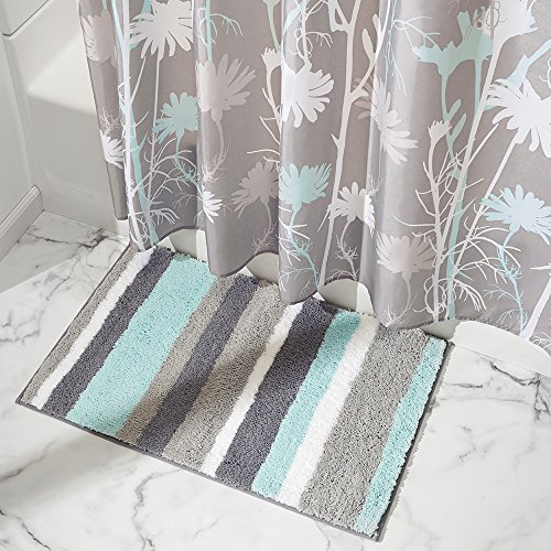InterDesign Stripz Microfiber Bath Rug interdesign daizy shower curtain