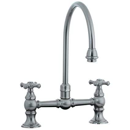 Cifial 267.270.620 Highlands Bridge-Style High-Arc Spout Kitchen Faucet with Metal Cross Handles, Satin Nickel