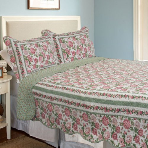 [Rose Bush] 100% Cotton 3PC Classic Floral Vermicelli-Quilted Quilt Set (Full/Queen Size)