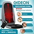 Gideon™ Luxury Six-Program Customizable Massaging Cushion with Heat / Shiatsu Deep Kneading, Rolling and Vibrating - Massage Full Back, Upper back, Lower Back or Pinpoint Precise Massage Spot