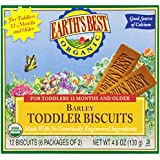 Earth's Best Organic Toddler Biscuits, Barley, 12 Bars (Pack of 12)