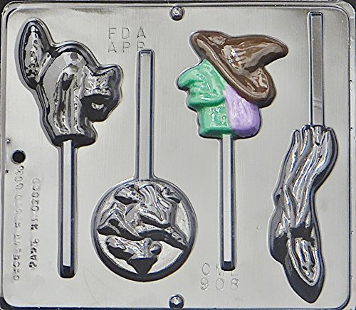 Halloween Assortment Cat Witch Lollipop Chocolate Candy Mold Halloween