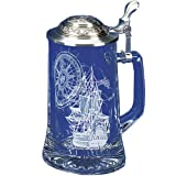Nautical Stein German Beer Glass Stein w/Anchor Pewter Lid (Color: Clear)