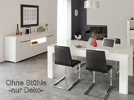 Esszimmer Ceren 2 weiß Hochglanz Ausziehtisch Sideboard Schrank Tisch Esstisch Esszimmergarnitur komplett