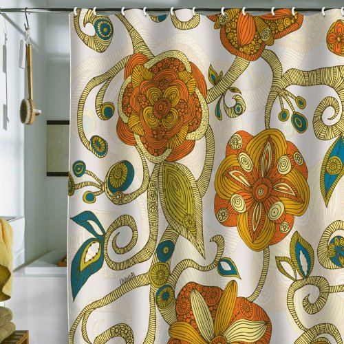 DENY Designs Valentina Ramos Orange Flowers Shower Curtain, 69 by 72-Inch