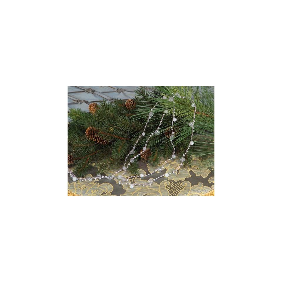 Pack of 6 Richeest Winter Silver/White Beaded Christmas