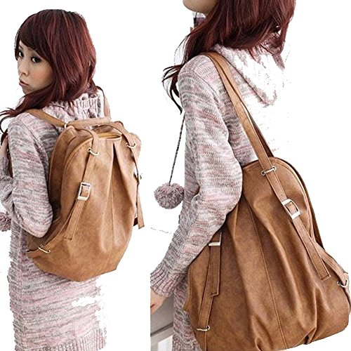 For Sale! C&L Fashion Korean Style Girl's PU Leather Backpack Handbag Shoulders Bag (Light Brown)