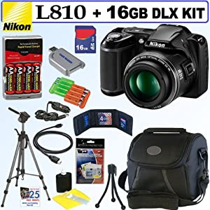 Nikon COOLPIX L810 16.1 MP Digital Camera (Black) + 4 AA Batteries with AC/DC Rapid Charger + 16GB Deluxe Accessory Kit