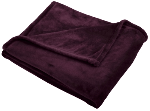 Pinzon Velvet Plush Throw, Aubergine front-1081237