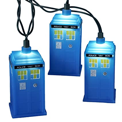 Doctor Who Kurt Adler UL 10-Light Tardis Light Set, Blue -