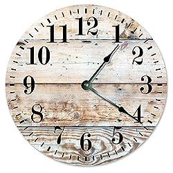 RUSTIC CLOCK Decorative Round Wall Clock Home Decor Wall Clock Large 10.5 Novelty Clock PRINTED LIGHT TAN WOOD LOOK