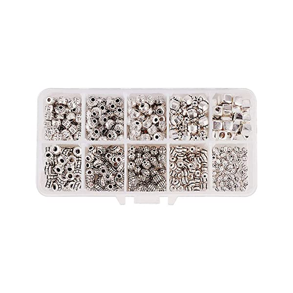 PH PandaHall 500pcs 10 Styles Spacer Beads Tibetan Alloy Antique Silver Metal Bead Spacers for Bracelet Necklace Jewelry Making Accessories(Hole Size: 1~3.5mm) (Color: 10 Styles Antique Silver - 500pcs)