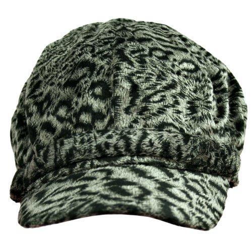 Black & Grey Tiger Print Plush Suede Newsboy Hat