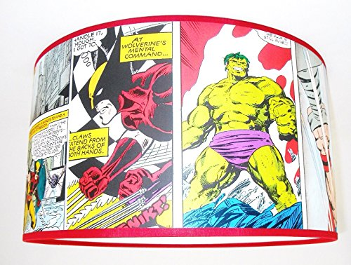 Abat-jour-fait-main-20cm-Marvel-Comic-Strip-X-Men-The-Incredible-Hulk