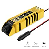 EBTOOLS Car Power Inverter, 300W Inverter 12V DC to 110V AC Car Converter with 3 AC Outlets, 4.8A Dual USB ports and 1 Cigarette Lighter, Converter for Laptop, Phone in case Emergency and Outage (Color: Yellow, Tamaño: 300W)
