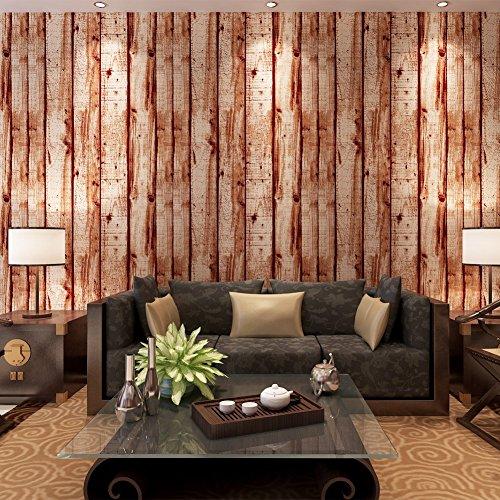 Hanmero papier peint intisse motif de bois naturel pour chambre salon tv fond for Graue wande im schlafzimmer