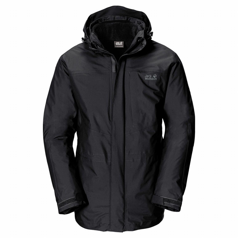 Jack Wolfskin Genesis Jacket MEN – Black – – Längere wasserdichte robuste Herren 3-in-1-Wanderjacke online bestellen