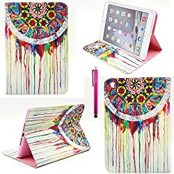iPad Air 2 Case, Casemart Wallet Book Style Unique Flip PU Leather Folio Stand Cover Case [Perfect Fit] Slim [Card Holder] Stylish Cute Skin Case For Apple iPad Air 2 -Dream Catcher