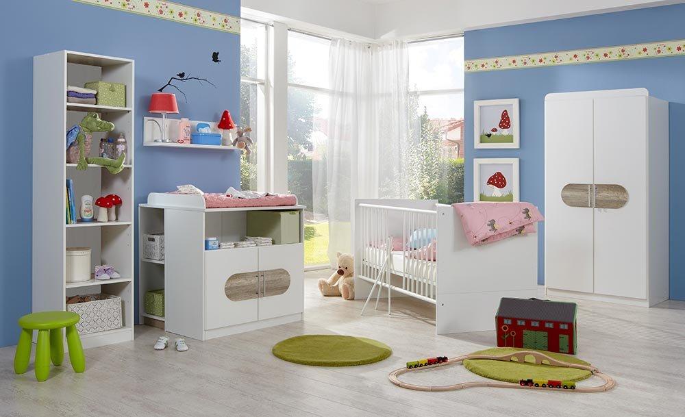 3-tlg. Babyzimmer in Alpinweiß mit Absetzungen in San Remo Eiche-NB, Schrank B: 90 cm, Babybett inkl. Lattenrost 70 x 140 cm, Wickelkommode B: 90 cm