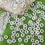 1000PCS Of Silver plated metal daisy spacer beads 4mm