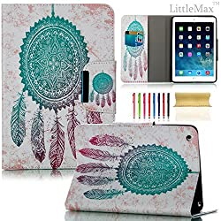 iPad Mini Case,LittleMax(TM) [Magnet] Leatherette Case with Stand & Auto Sleep/Wake Function Flip Wallet Case Cover for iPad Mini 1/2/3 [Free Cleaning Cloth,Stylus Pen]-Mint Wind Bell