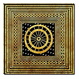 Startonight Canvas Wall Art Gold Arabic Pattern, Gold USA Design for Home Decor, Dual View Surprise Artwork Modern Framed Ready to Hang Wall Art 31.5 X 31.5 Inch 100% Original Art Painting!