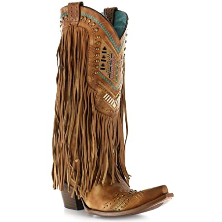 Corral Womens Honey Crystal Pattern Fringe Boot