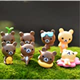 8pcs Rilakkuma Cartoon Bear Fairy Garden Miniatures PVC Crafts Moss Micro Landscape Terrarium Bottle Home for Décor