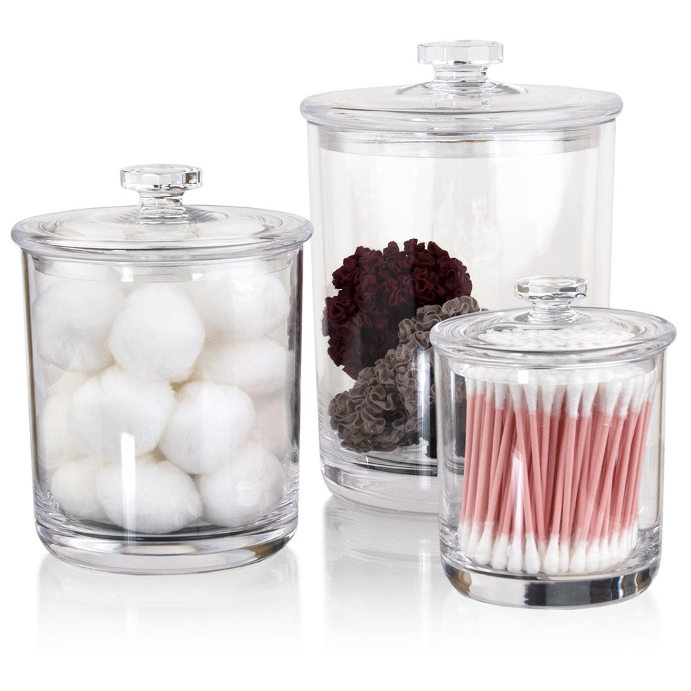 Premium Quality Clear Plastic Apothecary Jars | Set of 3