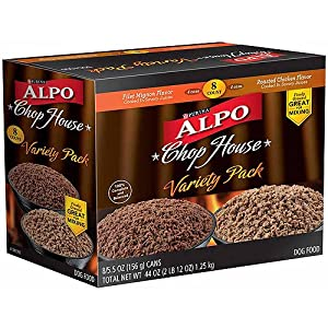 Alpo Chop House - Variety Pack - Filet Mignon Flavor (4 Cans) & Roasted Chicken Flavor (4 Cans) Cooked In Savory Juices - One Box Of 8 Cans