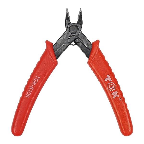 TGK Wire Cutters Micro Shear Flush Cutter 45 Degree Carbon Steel Flush Cut 3d Printer Pliers 5inch, Red