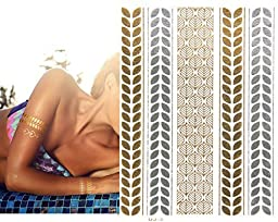 10 Sheets Premium Metallic Tattoos 100 Shimmer Designs Body Temporary Flash Metallic Fake Jewelry Tattoos Necklaces Bracelets Feathers Wrist Bands Infinity Love Turquoise Sticker. (Black)