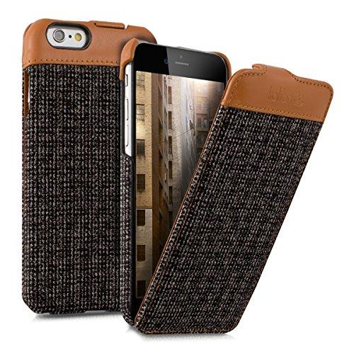 kalibri-Flip-Case-Hlle-Emma-fr-Apple-iPhone-6-6S-Aufklappbare-Stoff-und-Echtleder-Schutzhlle-Tasche-im-Flip-Cover-Style-in-Braun-Anthrazit
